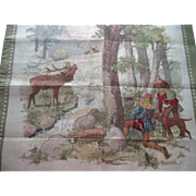 Antique Children's Child Handkerchief Robin Hood Woodland Deer Hunting Dog Archery Scene