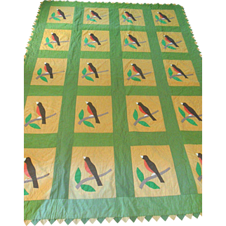 2 Vintage 30s Twin Bedspread Coverlet Quilts Spring Robin Bird Applique Apple Green Gold