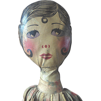 """Vintage 33"""" Oil Cloth Painted Flapper Boudoir Bed Doll Clothes or Pajama Bag"""