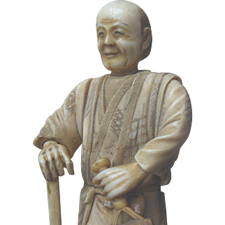 Antique Meiji Carved CHINESE Figure with Old Paper Label Signed