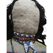 Antique Cheyenne Native American Indian Cloth Beaded Kansas Doll with Papoose