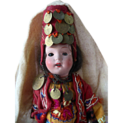 Antique German Bisque Head Doll Bethlehem Holy Land Religious Ethnic Doll in Original Clothing