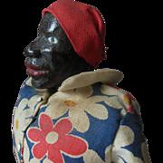 Antique Black Americana Folk Art Carved Wood Doll original clothes