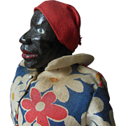 Antique Black Americana Folk Art Carved Wood Doll original clothes