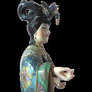Vintage Kwan Yin Chinese Buddhism Porcelain Enamel Statue Figure Mint n Silk Box