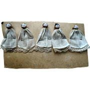 Unusual 1932 Dionne Quintuplet Cloth Dollhouse Miniature Dolls on Display Card
