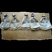 Unusual 1932 Dionne Quintuplet Cloth Dollhouse Miniature Dolls on Display Card