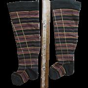 Antique Doll Socks Stocking Papier Mache Wood China Parian Doll or Teddy Bear