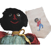 Old Golliwog Black Cloth Doll and Textile