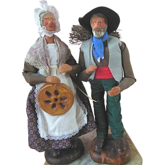 2 Vintage French Santon Provence Doll Terracotta Figure Pair signed