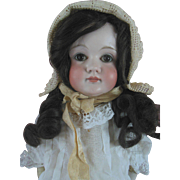 "Antique 23"" Kestner Closed Mouth Doll in Lacy Dress & Bonnet just lovely"