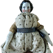 "Antique 6"" China Dollhouse Doll in Calico Dress & Original Clothing Rosy Cheek Color"