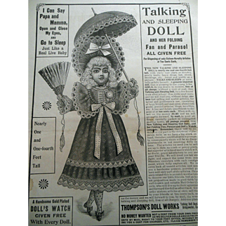 Antique French BEBE Talking Doll Advertisement Peoples Home Journal Full Page Ad for Framing