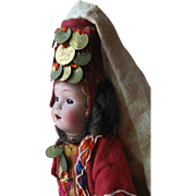 Antique German Bisque Head Doll Moroccan Bethlehem Holy Land Religious Ethnic Doll