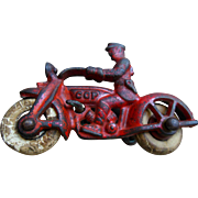 Vintage Hubley Police Cop Cast Iron Harley Motorcycle Side Car Toy