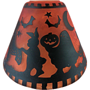 Old Vintage Halloween Witch Cat Glass Lamp Lantern Shade
