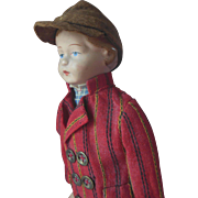 Early Unusual Antique Composition Boy Doll in Original Clothes with Old Tag