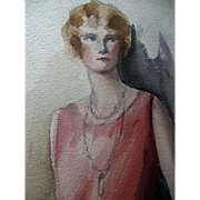 Art Deco Listed Artist Riggs 1920's Woman's Dress Fashion Painting signed