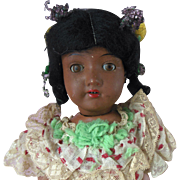 Antique Black Americana German Bisque Hawaiian Doll original Panama Carnival Costume for repair