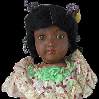 Antique Black Americana German Bisque Hawaiian Doll original Panama Carnival Costume for repair