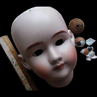 "Antique 30"" Simon Halbig Handwerck Bisque German Doll Head for parts or repair"