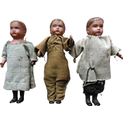 Old Vintage Celluloid Boy Dollhouse Doll Lot (3) original clothes