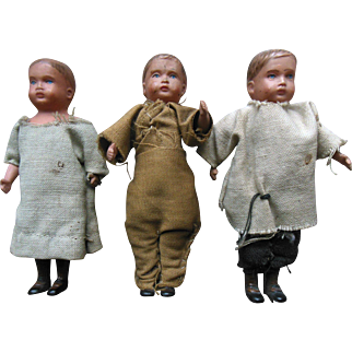 Old Vintage Celluloid Boy Dollhouse Doll Lot (3) original clothes