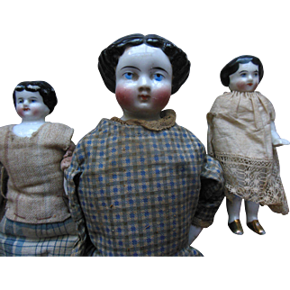 Antique China Frozen Charlotte Dollhouse etc. (3) Doll Lot in Calico Dress parts or repair