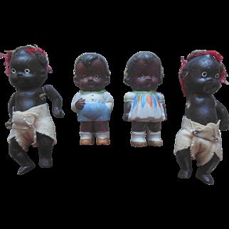 Old Vintage Black Americana Bisque Miniature Dollhouse (4) Doll Lot