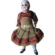 "Antique German All Bisque Glass Eye Dollhouse Doll 3.5"" Miniature in original clothes"