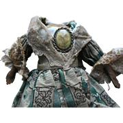 Antique Papier Mache China Bisque Wood Parian Doll Cloth Body w Calico Dress Leather Arms Jewelry A+