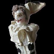 Antique Pierrot Cloth Boy Doll in Clown Costume