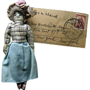 Old Vintage Cloth Miniature Dollhouse Doll with New York Mailing Label