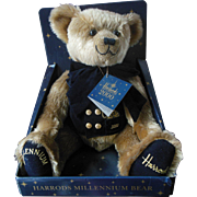 Vintage Harrods Millennium Teddy Bear 2000 Mint In Box with Tags