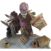 Unusual Old Vintage Papier Mache Composition Clay Peddler Doll