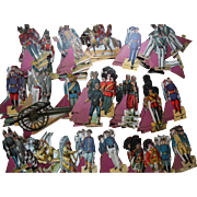 Antique Paper Soldiers Indian Calvary Civil War Tartan Toy Soldiers >300 Pieces exc cond
