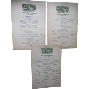 Vintage 1930s Original Oceanside Magnolia Gloucester Cape Ann 3 Menu Set