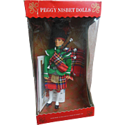 Vintage Peggy Nisbet Scottish Tartan Piper Doll Figure Mint in Box with Wrist Tag & Booklet