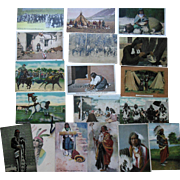 Antique Naive American Indian Western Cowboy Postcard Lot