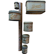 Antique Dollhouse Childrens Miniature Tin Kitchen Canister Bread Flour Coffee Tea Sugar etc Set 6 Pieces