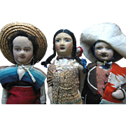 Vintage 1930s Mexican Cloth Doll Family with Papoose Quality Lot of (3) dolls