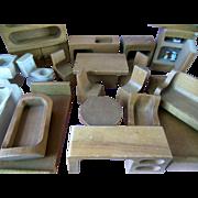 Creative Playthings 20 Pc Wood Dollhouse Furniture Mid Century Modern Finland