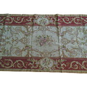 "Vintage 8'5"" x 2'4"" Handmade Needlepoint Rug Aubusson Tapestry Wool Runner Lovely in excellent condition"