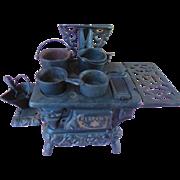 Antique Dollhouse Miniature Crescent Cast Iron Stove with Pots Coal Scuttle Shovel