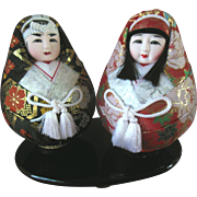 2 Vintage Japanese Gofun Wedding Doll Pair Hime Daruma Roly Poly on Lacquer Stand in ornate brocade Mint