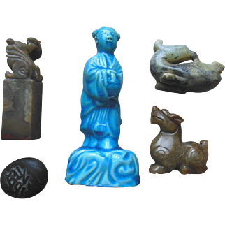 Antique Chinese Asian Statue Ink Seal Carving Lot (5)