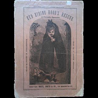 1877 Red Riding Hood Rescue Golden Hair 3 Bears Juvenile Operetta Music Book