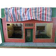 Old Vintage Toy Grocery Store Dollhouse with Miniatures