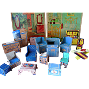 Old Vintage Paper Dollhouse Miniature Doll Furniture Box Lot
