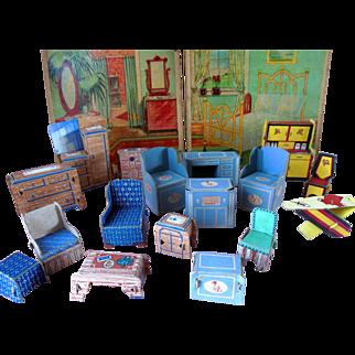 Old Vintage Paper Dollhouse Miniature Doll Furniture Box Lot